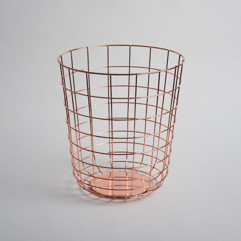 Sleek wire bin for the office bedroom or bathroom for Gold bathroom bin