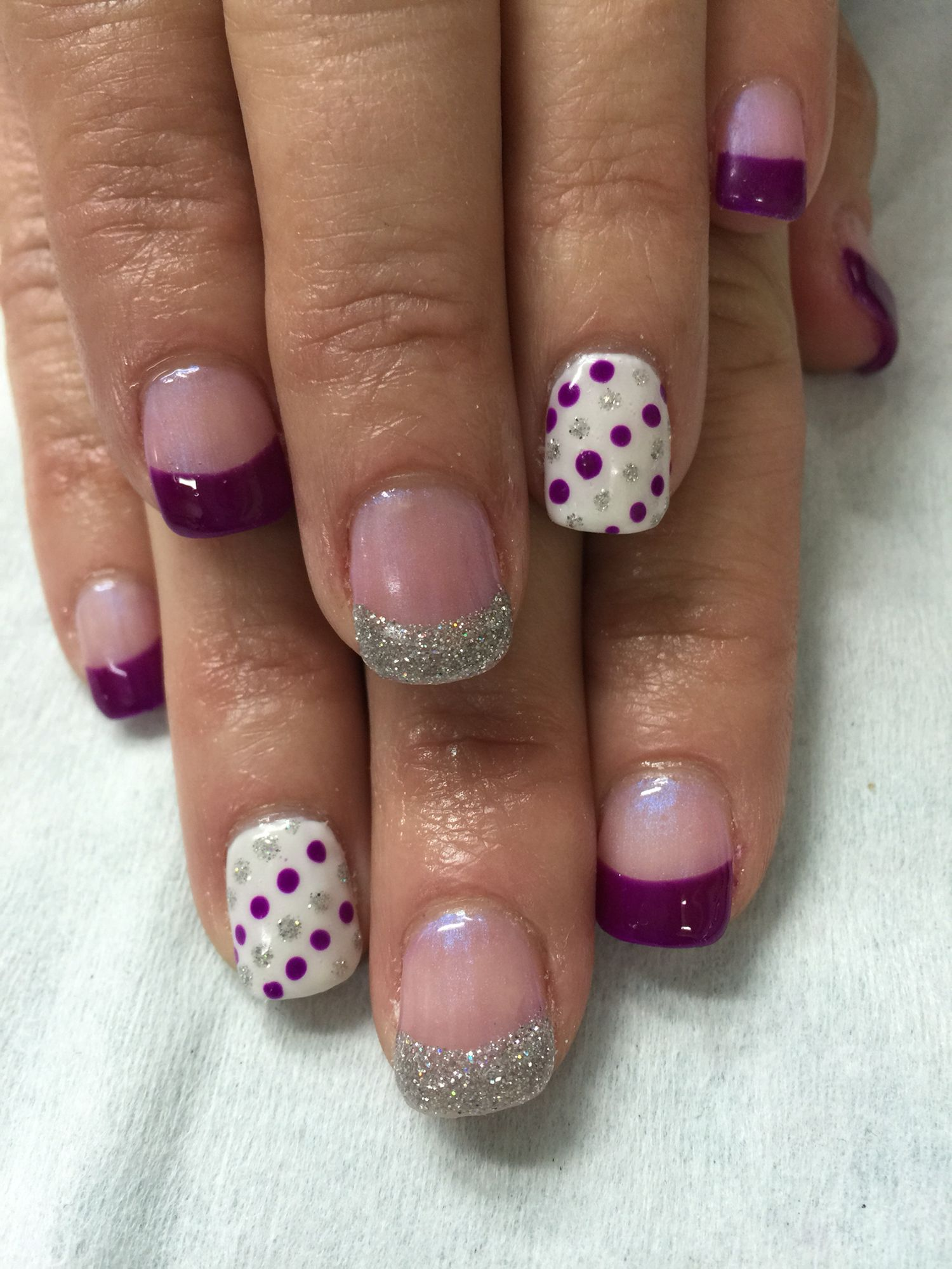 Purple & silver French gel nails on a iridescent background with ...