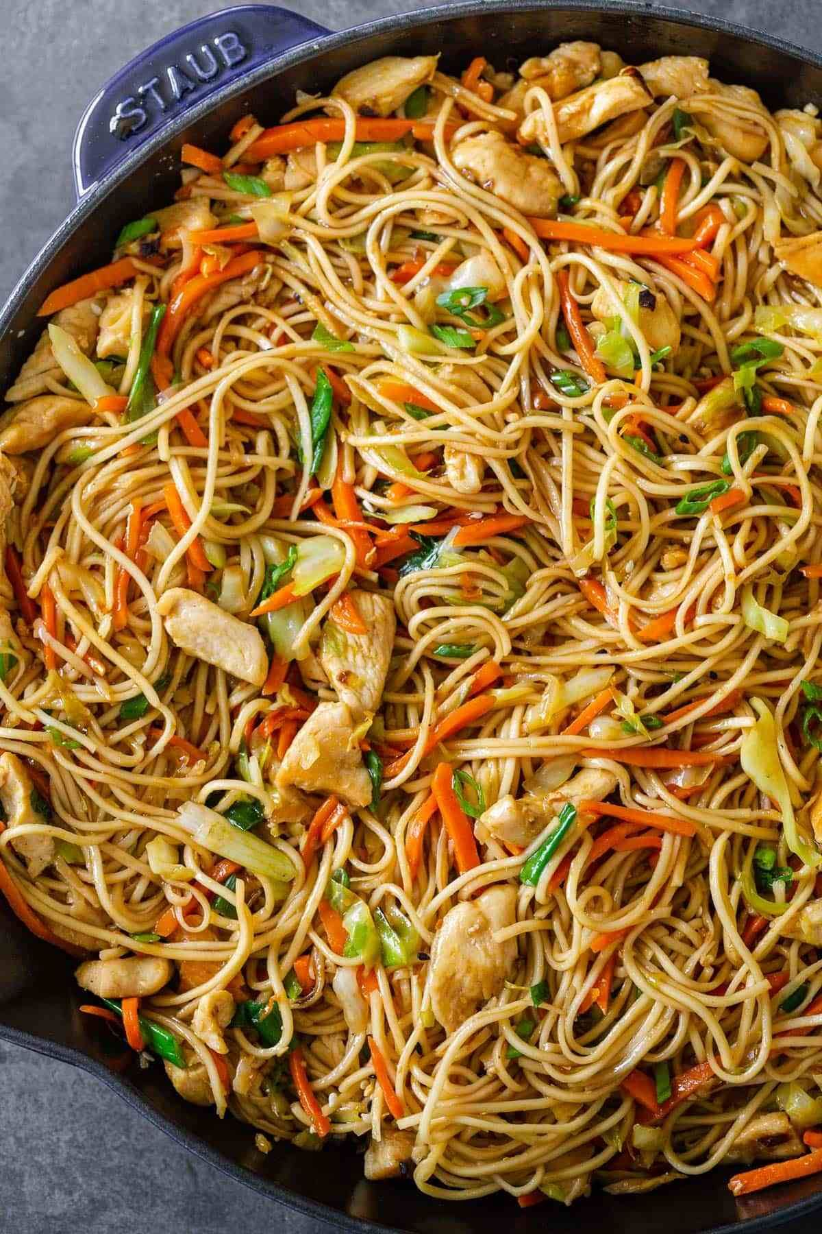 Classic chow mein noodles is so satisfying with chicken