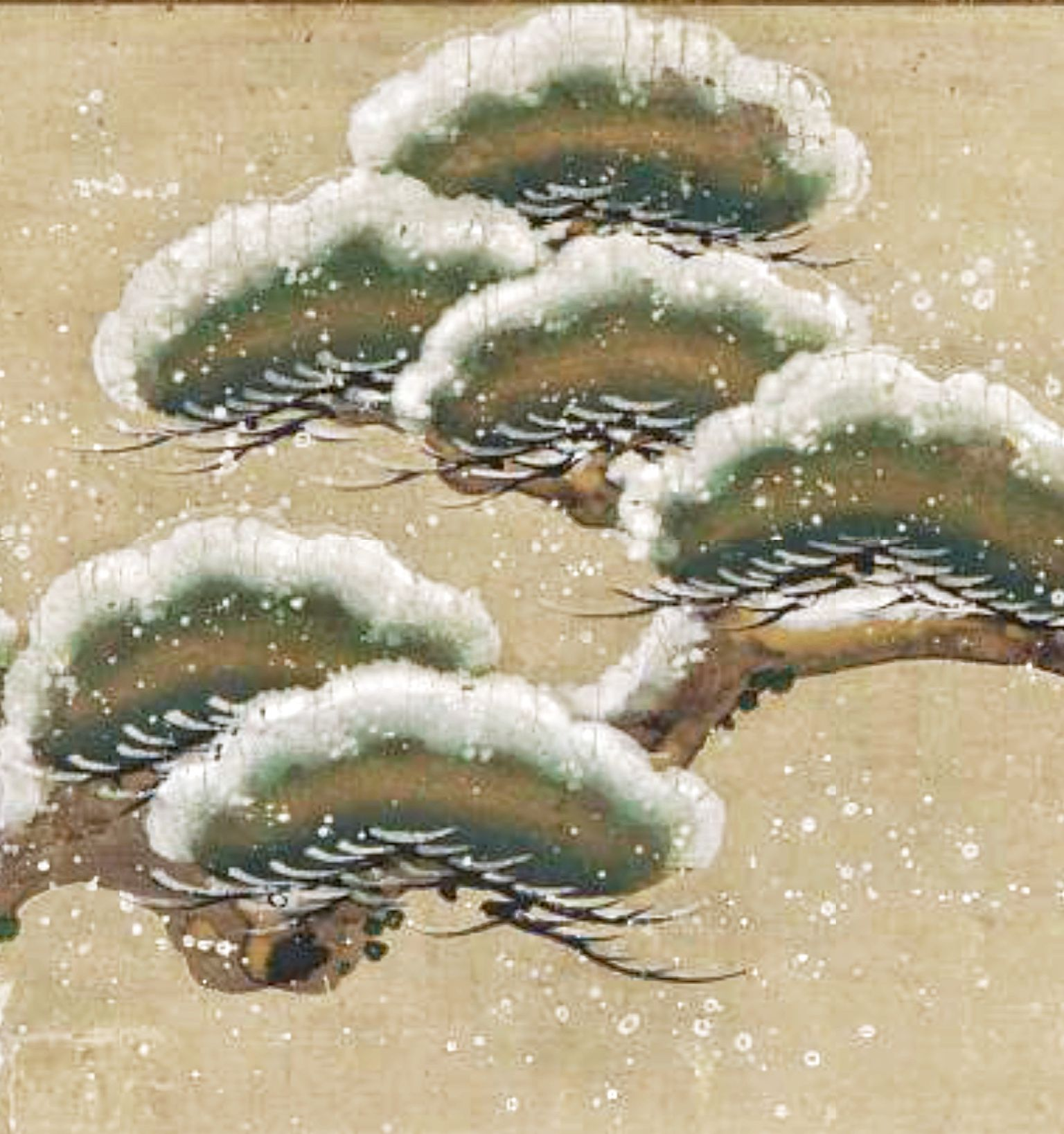 Detail Snow Laden Pine Boughs Hanging Scroll Mounted On Panel