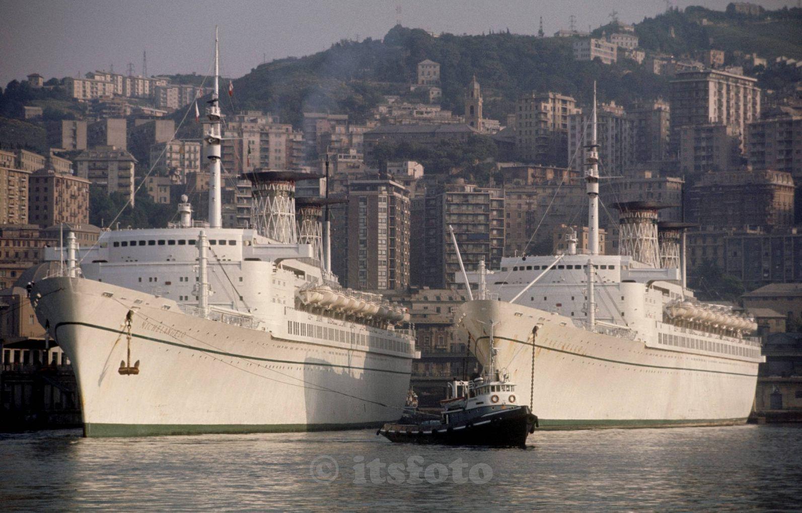 Michelangelo and Raffaello, in Genoa. 1975. | Us navy ships, Boat, Yacht  boat