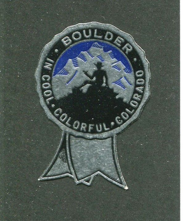 Vintage Foil Label BOULDER Cool Colorful COLORADO #IM