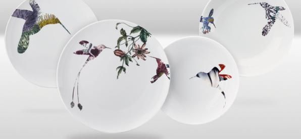 FLUTTER Collection, surreal introduction of flower within silhouette of hummingbird - DESIGN BY PETER TING