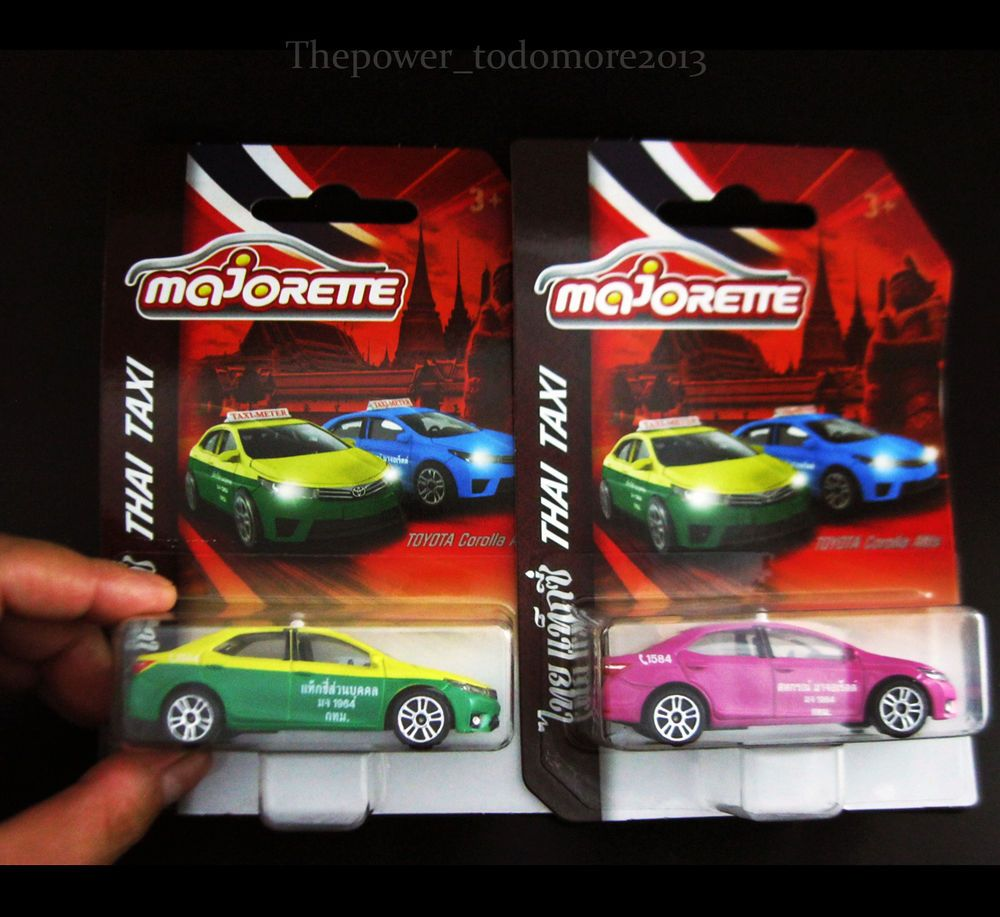 Lot of 2 majorette diecast toyota altis thai taxi car model limited edition 2017 majorette