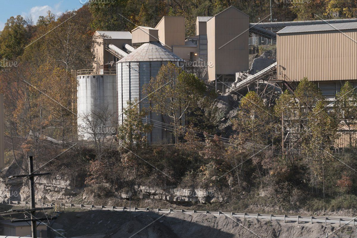 Limestone quarry in forest #Sponsored , #PAID, #processing#plant#wooded#stone