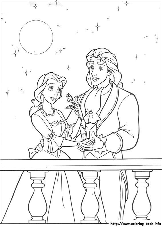 Belle Prince Adam Beauty And The Beast Coloring Picture