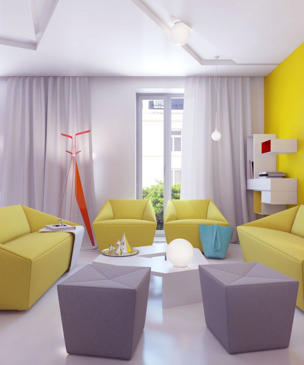 Brigth And Vivid Small Apartment Interior Design : Gray And Yellow Sofa In  Modern Living Room Part 60