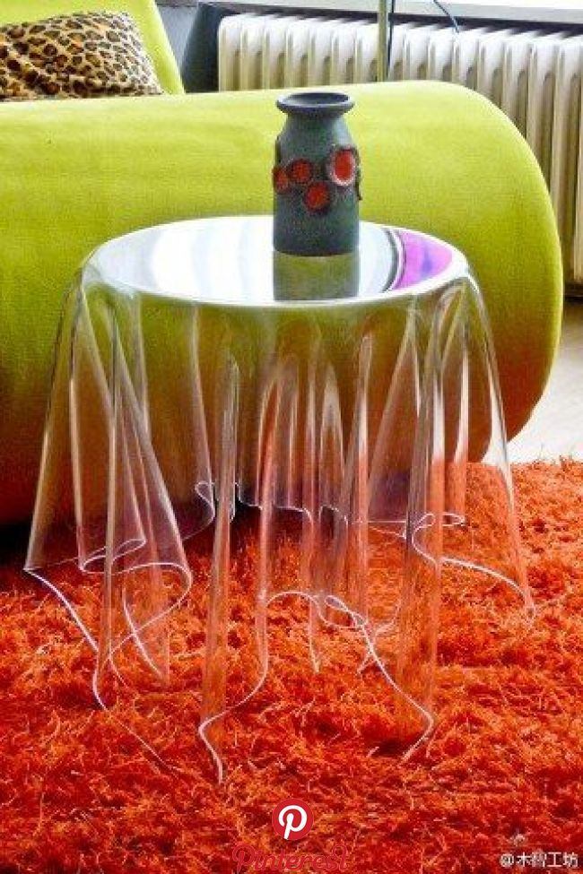 Optically Altering Side Tables   Illusion Tables - These illusion tables by Essey are a wonderfully different addition to any space. These magical illusion tables were inspired by cafes where whit...