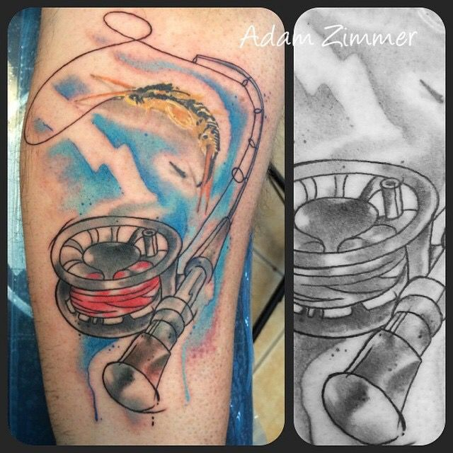 Watercolor Fly Fishing Rod Tattoo By Adam Zimmer Fishing Rod