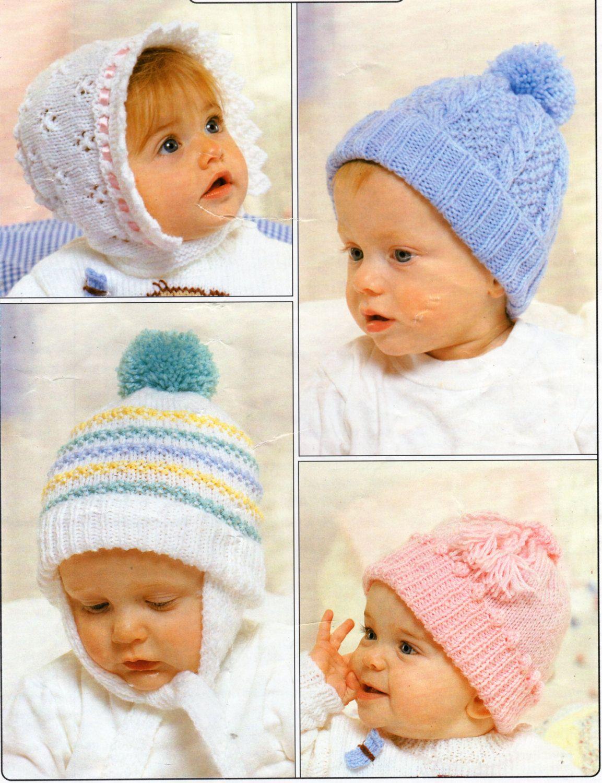baby hats knitting pattern PDF DK bonnet cable hat helmet caps ...