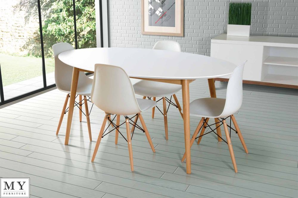 Dining Table Retro Solid Oak Lacquered White Round Oval Rectangle 4 Eames Chairs Ebay
