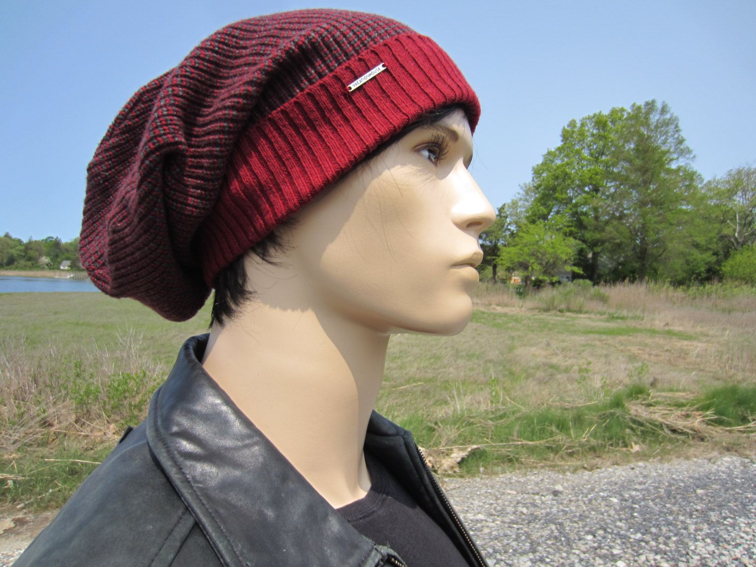 Oversized Tam Thick Knit Hats Slouchy Beanie Stocking Cap Red Gray Men s  Cotton Baggy Long Hats 04acd53718a