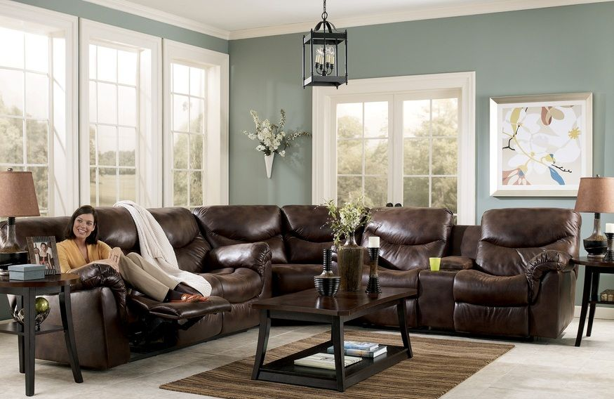Furniture Classy Dark Brown Leather Sectional Couch Design Ideas Combined With Simple Wooden Coffee Table For Living Room Arrangement