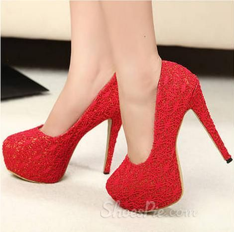 my style Elegant Red Stiletto Heels Closed Toe Bride Shoes