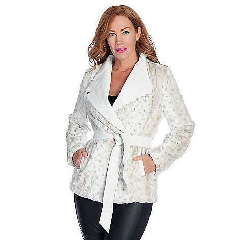 Pamela McCoy Faux Fur Long Sleeved Tie-Waist Coat.  Shown in White Lynx print!