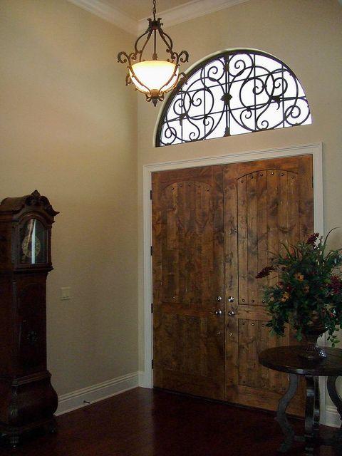 Faux Wrought Iron Transom Door Window Insert Faux Iron Window Iron Windows Arched Window Treatments
