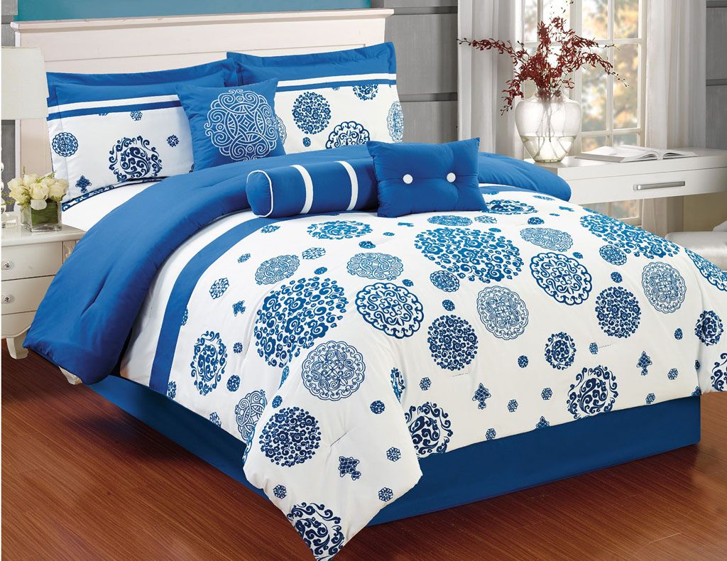 7 Piece BlueWhite Floral Embroidered Comforter Set Comforter