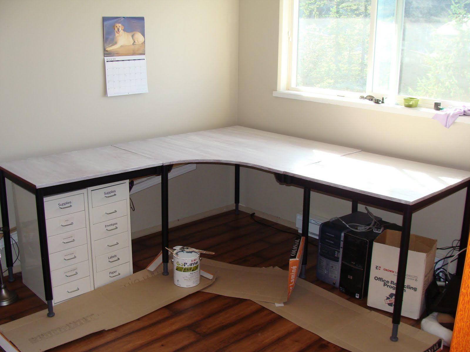 Pottery Barn Inspired Desk Transformation Ikea Hackers Diy Corner Desk Ikea L Shaped Desk Ikea Corner Desk