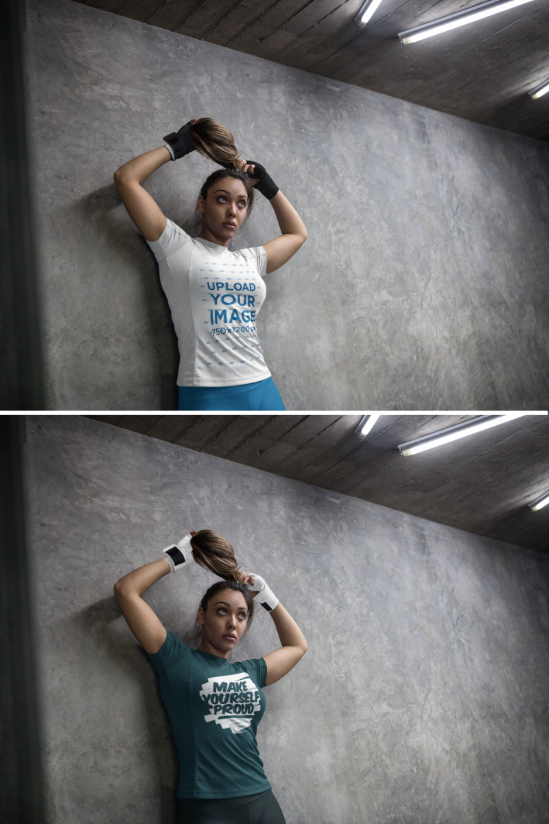 Download Placeit Sports Mockup Of A Woman Wearing Custom Sportswear And Boxfit Hand Gloves While Against A Concrete Wall Custom Sportswear Hand Gloves How To Wear