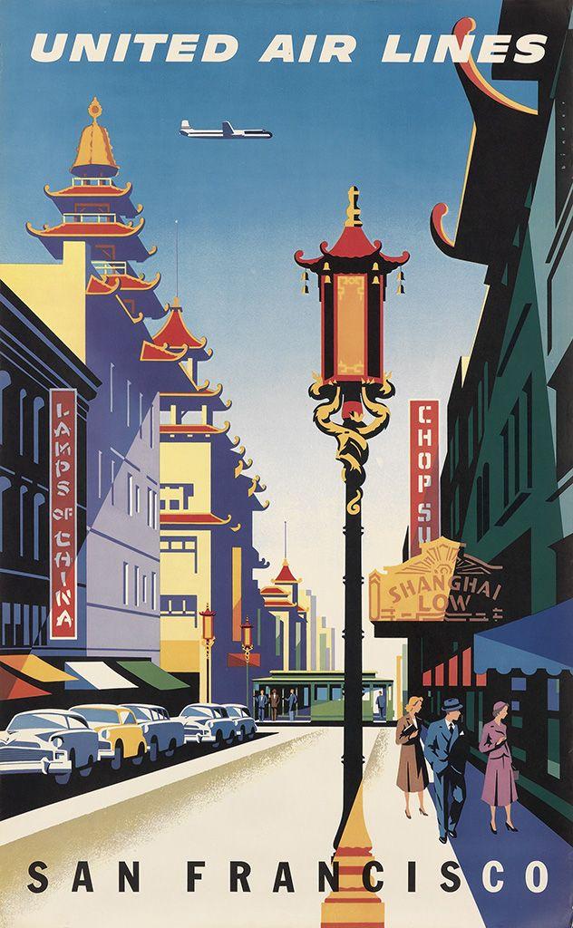 1950 San Francisco California Vintage Style Travel Poster 18x24