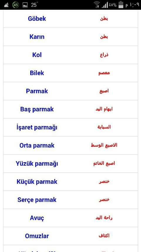 أعضاء الجسم باللغة التركية Learn Turkish Language Turkish Language Learn Arabic Language