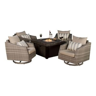 RST Brands Cannes 5-Piece All-Weather Wicker Fire Pit Patio Conversation Set with Slate Grey Cushions-OP-PECLB5MFT-CNS-SLT-K - The Home Depot