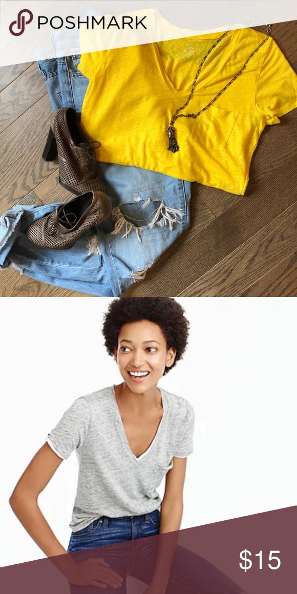 c6ffea97f53b0d J. Crew Linen V-neck Pocket T-shirt in Yellow Only worn once. Linen ...