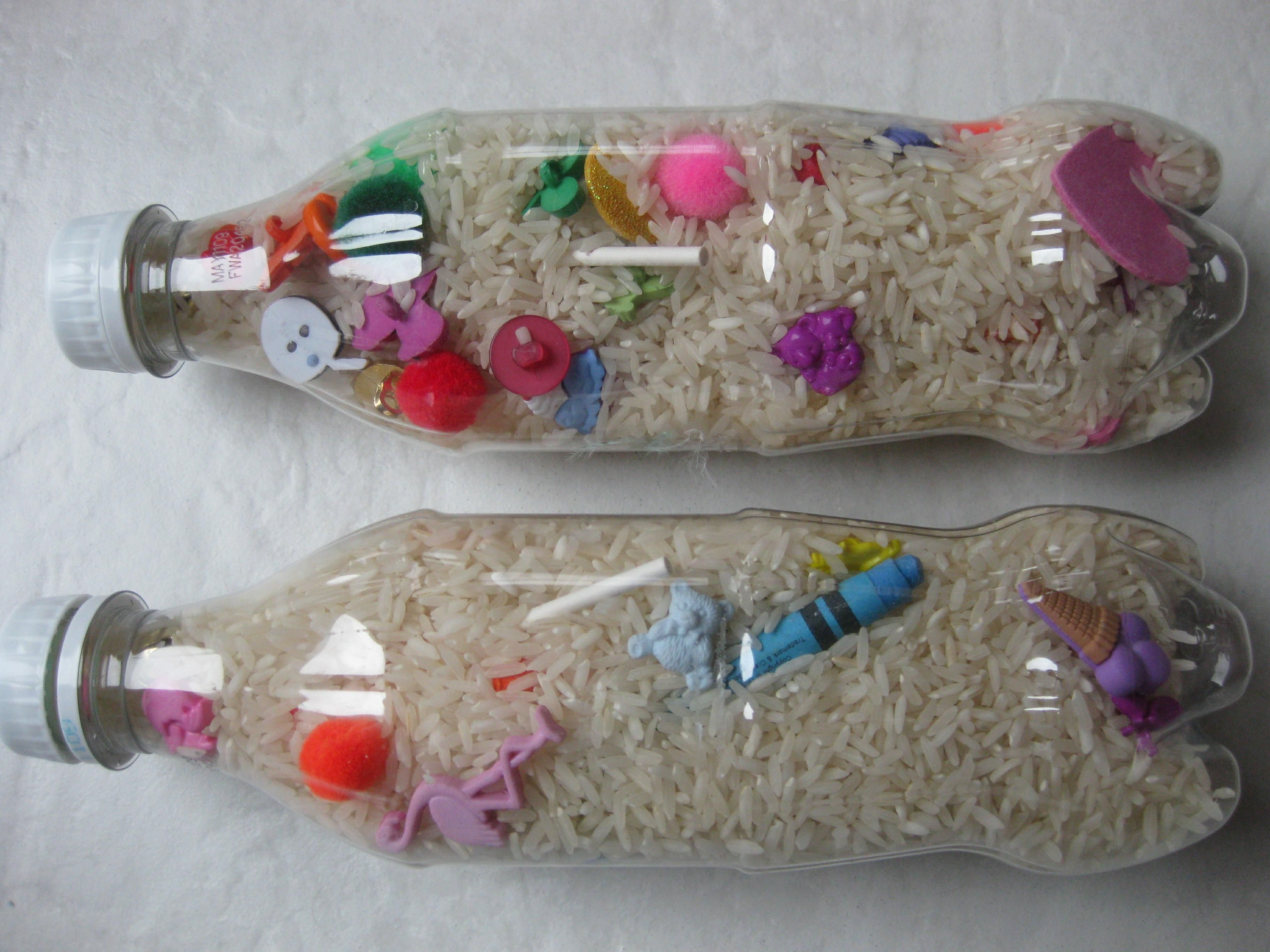 Kids crafts how to make an i spy bottle pinterest spy for Things to make with plastic bottles for kids