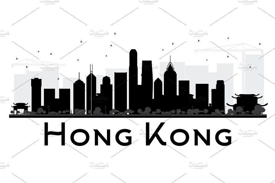 Hong Kong City Skyline Black In 2020 City Skyline City Skyline Silhouette Skyline Silhouette