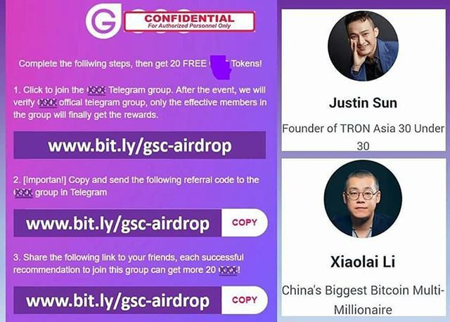 I just got 20 tokens for FREE join me now! www bit ly/gsc-airdrop _