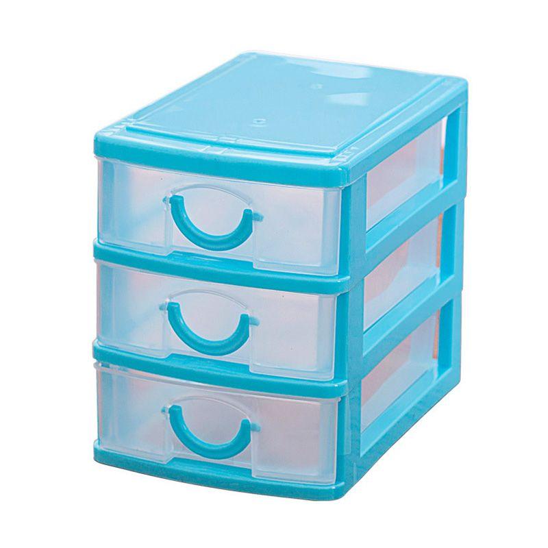 Best Mini Translucent Drawer Type Plastic Storage Box Blue 3 Layers Plastic Box Storage Storage Box Storage