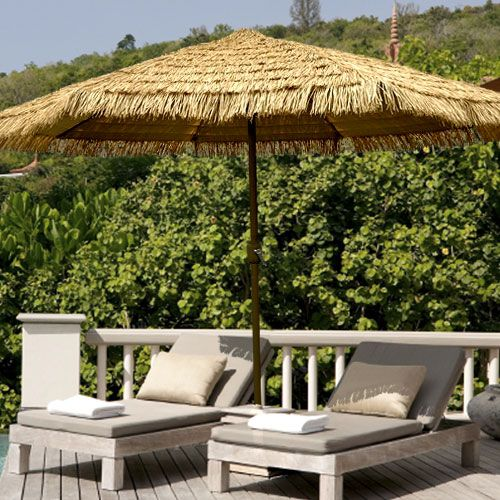 11u0027 Deluxe Thatch Tilt Patio Umbrella