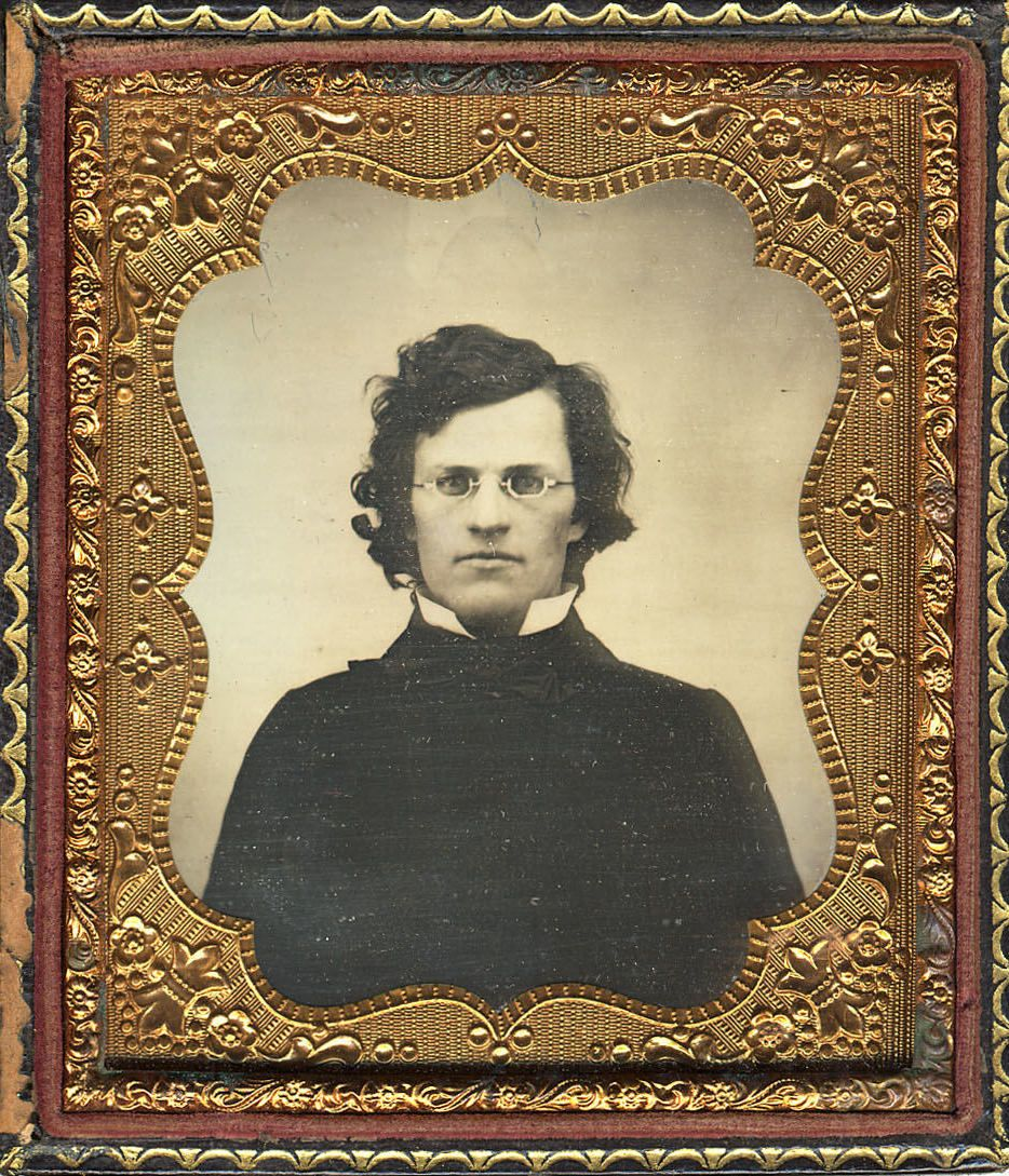 "ca. 1859, [daguerreotype portrait of a bespectacled gentleman, handwritten on verso: ""Present from dear George""] via the Metropo..."