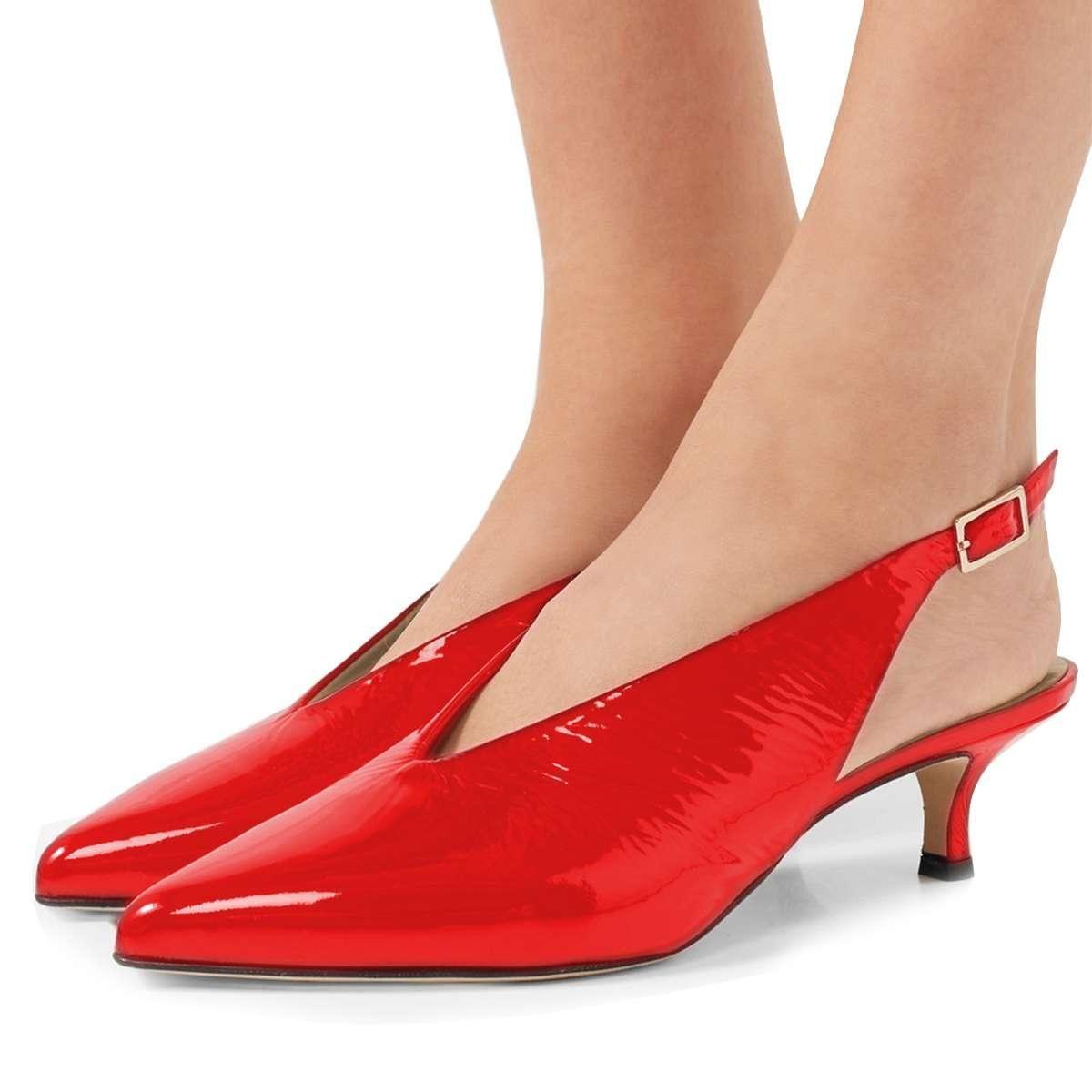 Adorewe Fsjshoes Fsj Shoes Red Mirror Leather Kitten Heel Slingback Pumps Adorewe Com Slingback Pump Kitten Heels Shoes Heels Classy