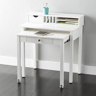 White Desk Solid Wood Roll Out The Container