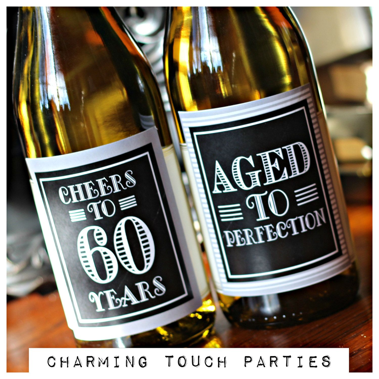 60th birthday party decor wine labels set of 4 black