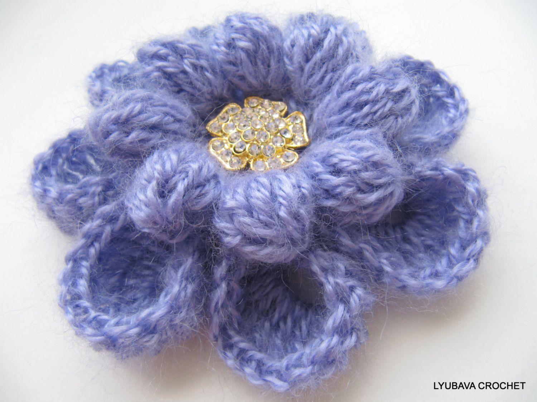 Crochet PATTERN Crochet Flower Brooch PATTERN by LyubavaCrochet ...