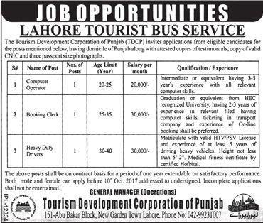 Tourism Development Corporation Jobs  In Punjab For Computer