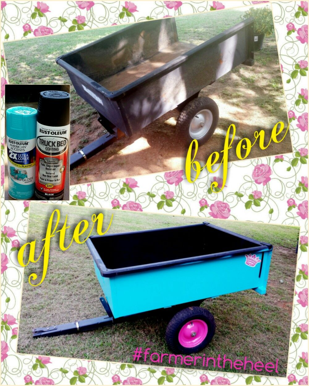Recycled yard cart for lawnmower. Wire brush off all loose