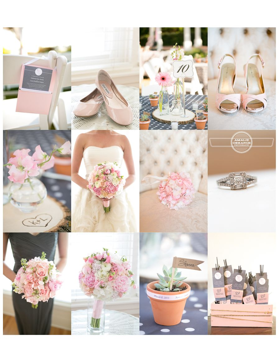 blush pink and gray wedding details inspiration Photography by www ...