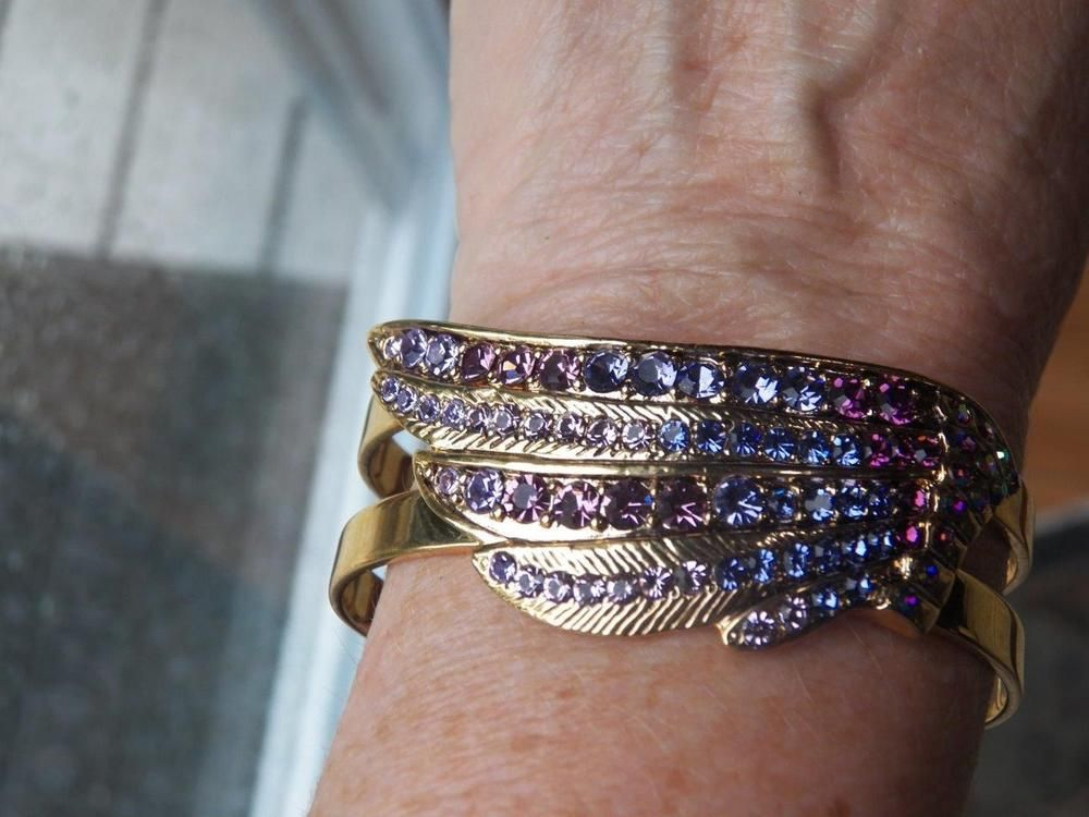 VINTAGE  KIRKS FOLLY ANGEL WING PURPLE  RHINESTONE CUFF BRACELET