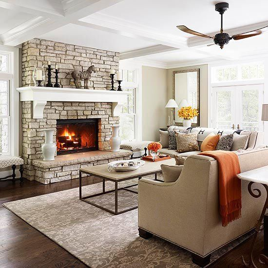 2013 Neutral Living Room Decorating Ideas From Bhg: Fireplace Designs And Design Ideas, Fireplace Photos