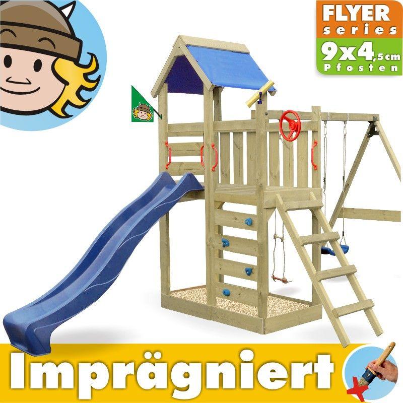 Neu WICKEY-MultiFlyer-Spielturm-Spielhaus-Kletterturm-Spielwelt  HP19