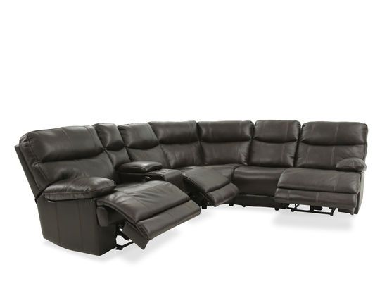 Four Piece Leather Reclining Sectional In Brown Leather