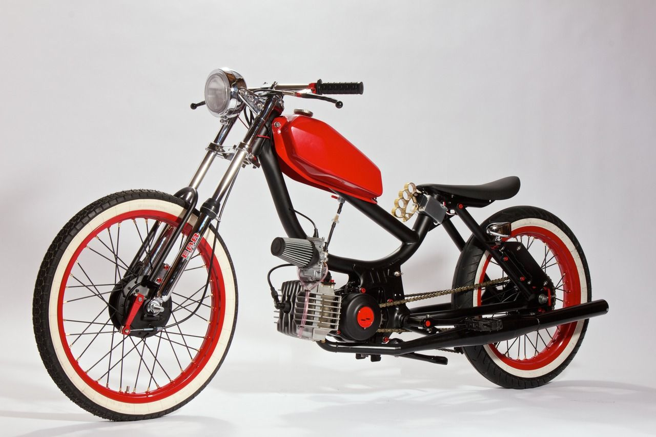Red tank and rims on small motorcycle | Motorized | Small