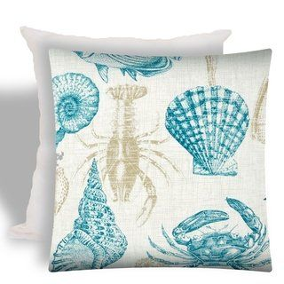 Joita UNDER THE SEA Teal Indoor/Outdoor - Zippered Pillow Cover with Insert (1-Piece - teal, khaki, ivory), Multicolor(Polyester, Animal Print),