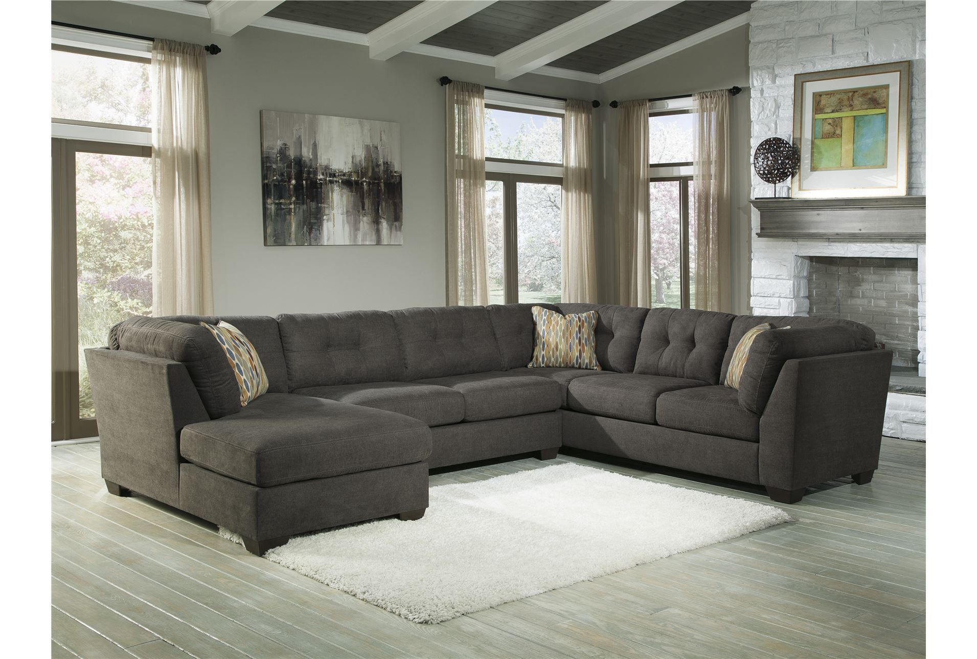 Delta City Steel 3 Piece Sectional W Laf Chaise