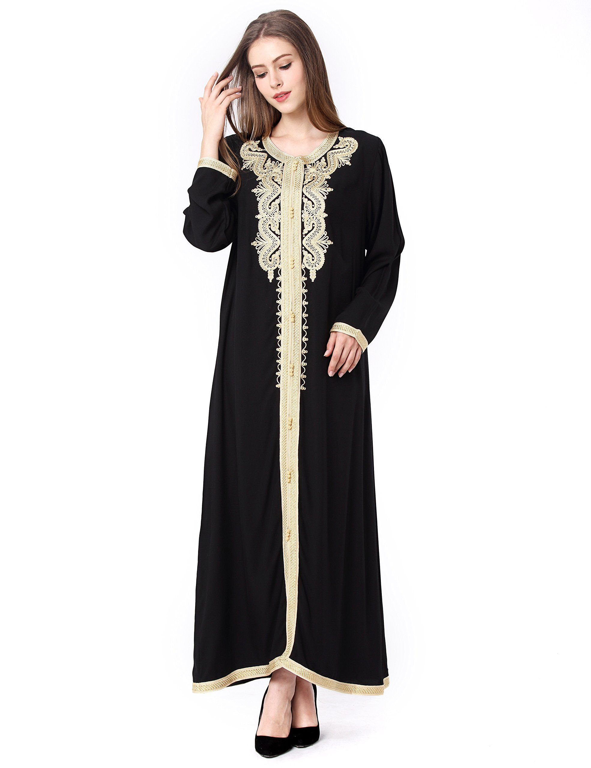 Muslim Dress Dubai Kaftan Women Long Sleeve Arabic Long Dress Abaya Islamic Clothing Girls Jalabiya Caftan Formal Gown