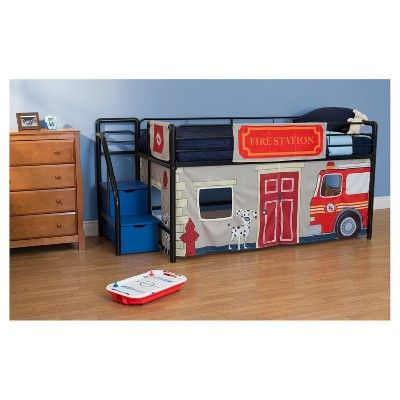 Dhp Twin Fire Department Bunk Bed Curtain Set Dorel Home Products Boys Curtains Toddler Loft Beds Junior Loft Beds