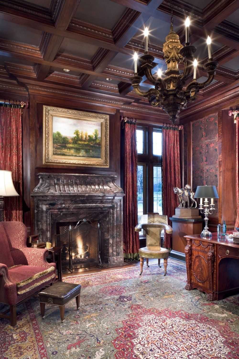 Interior Wood Paneling: Formal Home Office With Antique English Desk, Cherry Wood